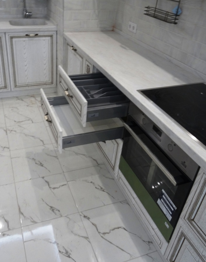 Белый кухонный гарнитур-Кухня МДФ в ПВХ «Модель 515»-фото6