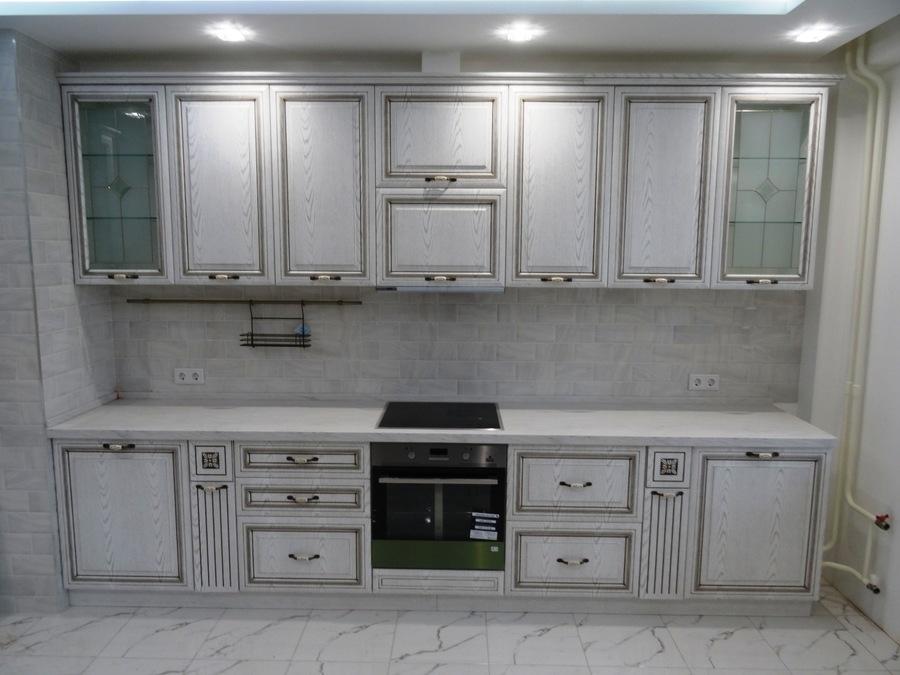 Белый кухонный гарнитур-Кухня МДФ в ПВХ «Модель 515»-фото2