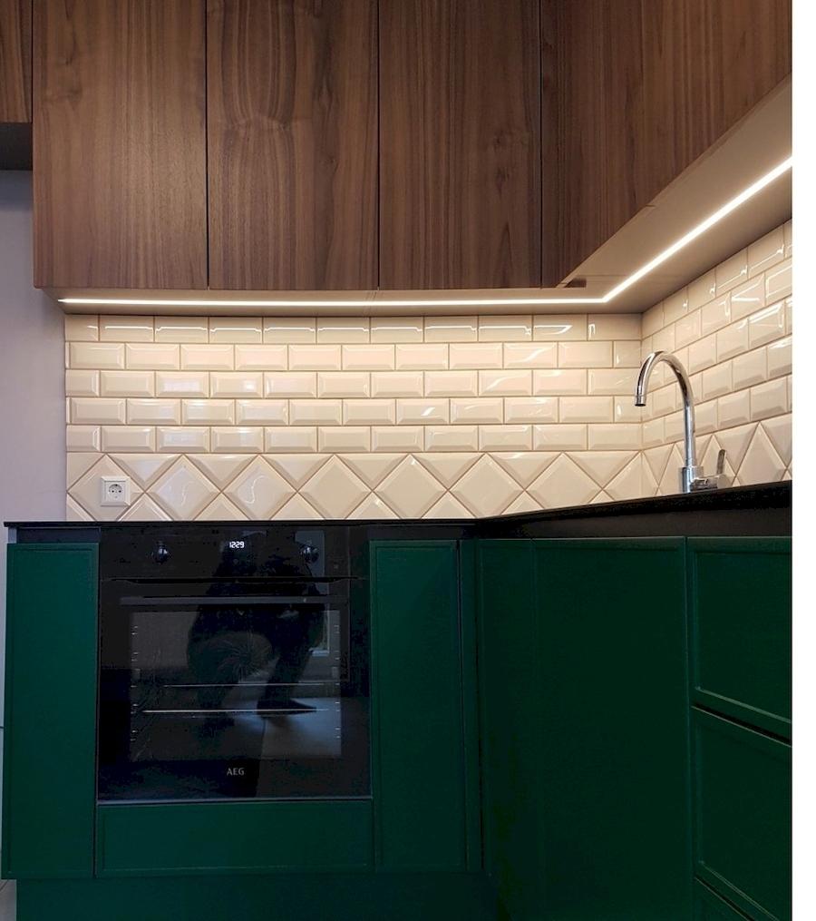 Купить зеленую кухню-Кухня МДФ в эмали «Модель 599»-фото2
