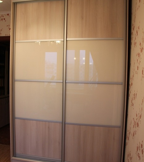 Двухдверный шкаф-купе-Шкаф-купе из стекла Лакобель «Модель 21»-фото3